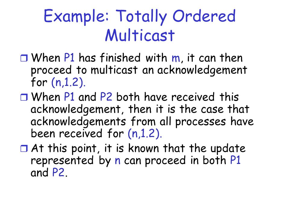 Example: Totally Ordered Multicast
