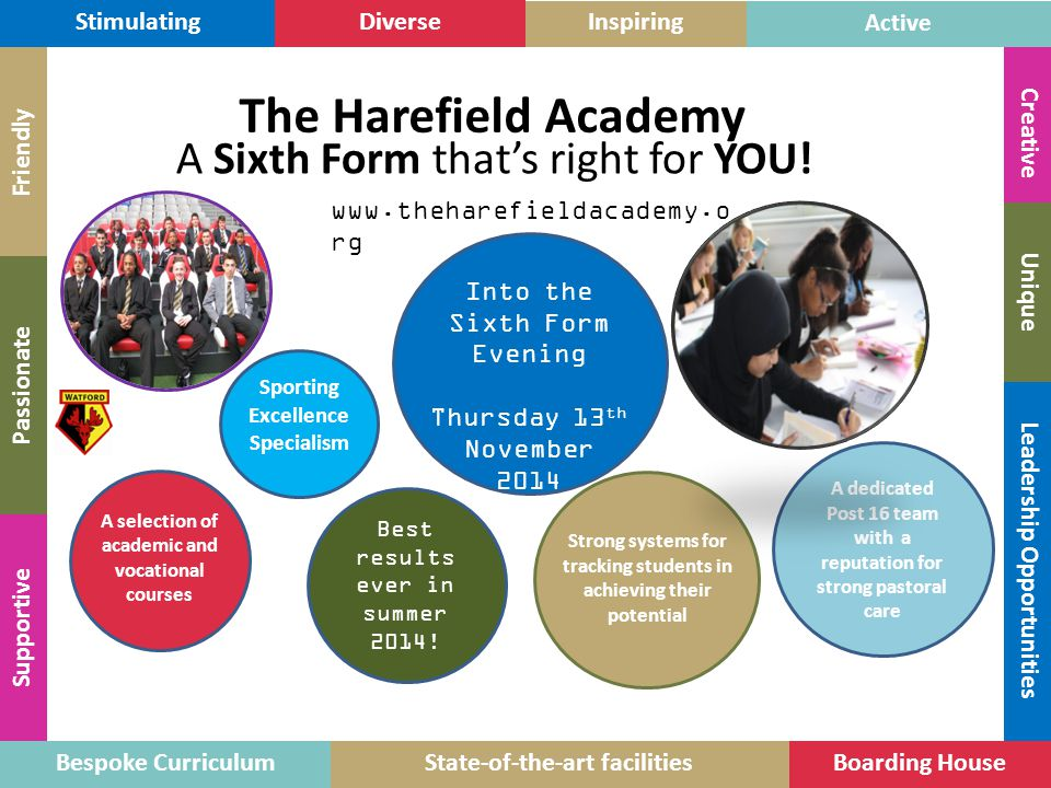 The Harefield Academy A Sixth Form that's right for YOU! Stimulating
