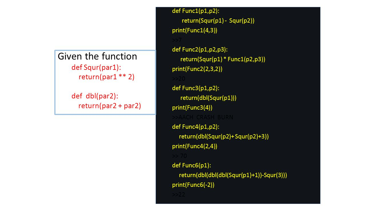 Given the function def Squr(par1): return(par1 ** 2) def dbl(par2):