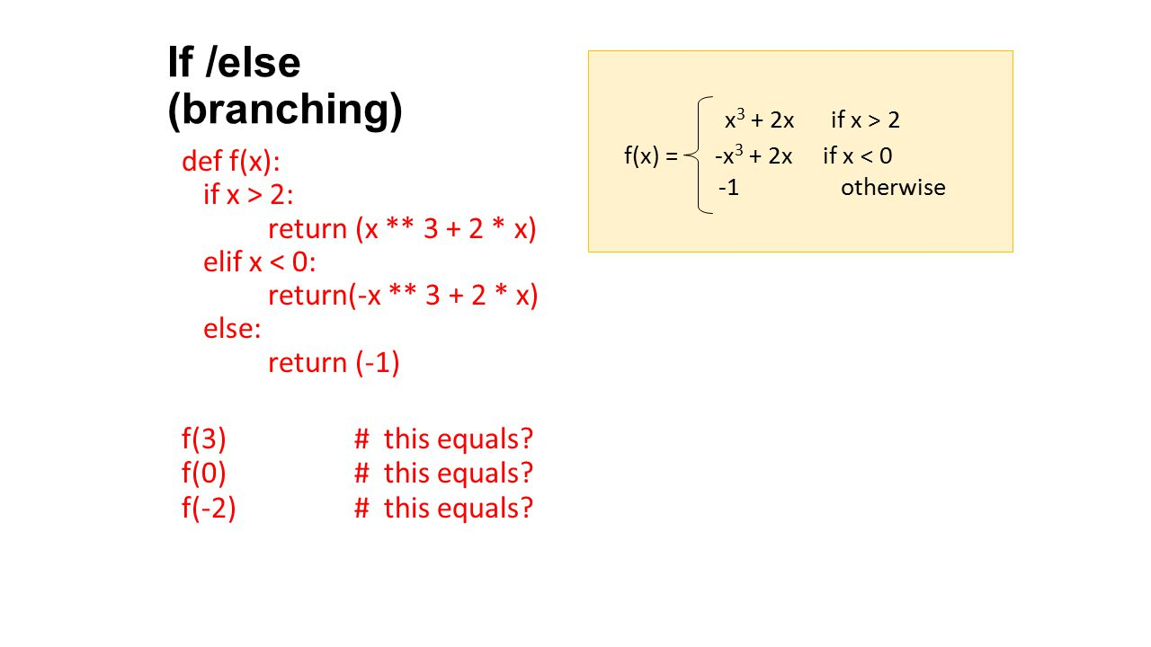 If /else (branching) def f(x): if x > 2: return (x ** 3 + 2 * x)