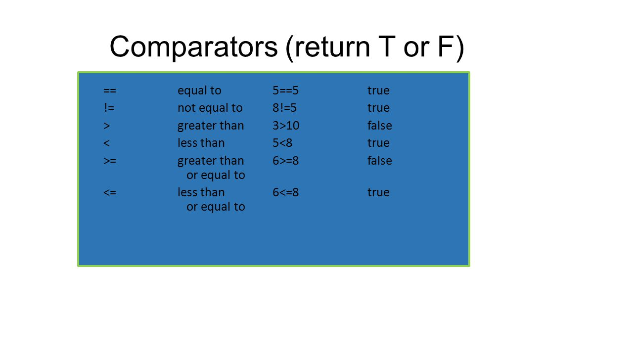 Comparators (return T or F)
