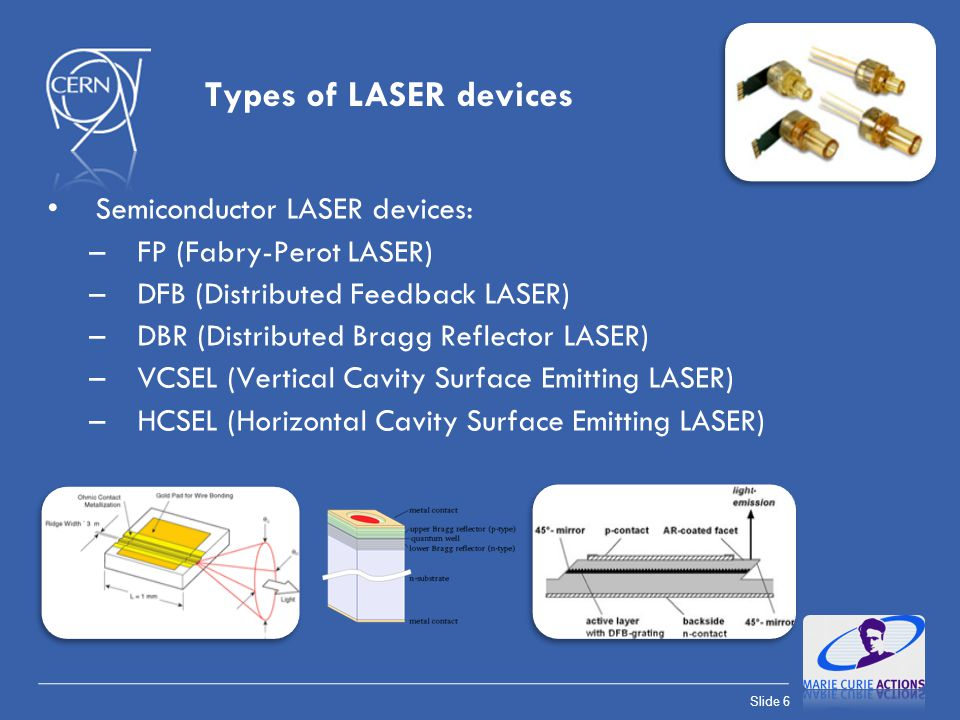 Types of LASER devices Semiconductor LASER devices: