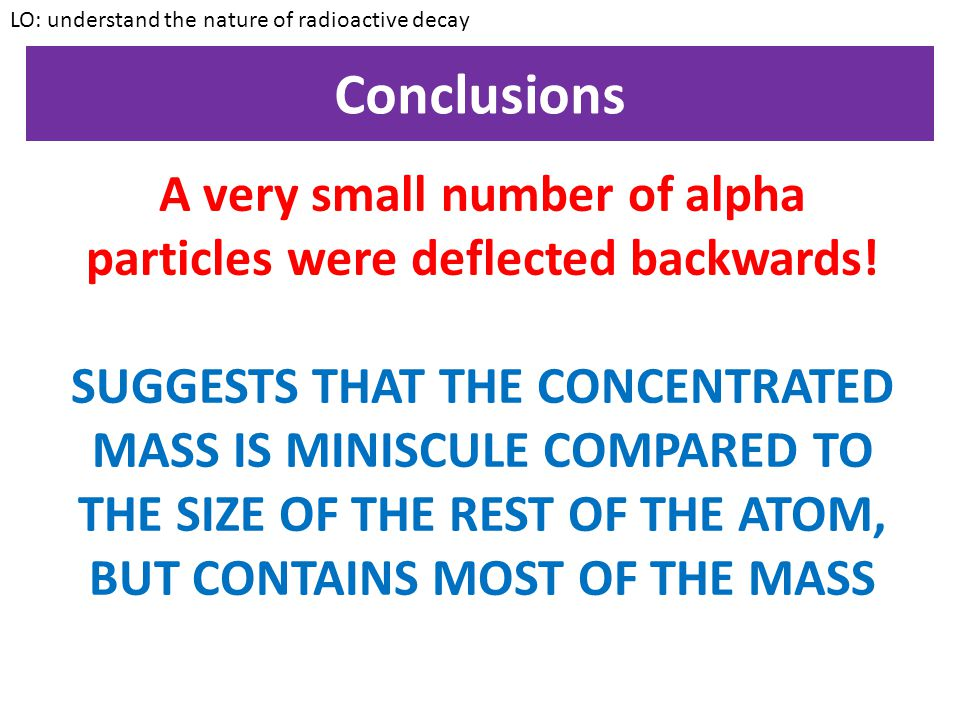 A very small number of alpha particles were deflected backwards!