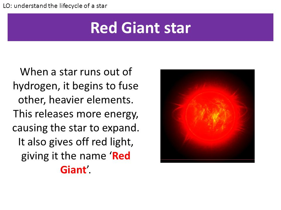 LO: understand the lifecycle of a star
