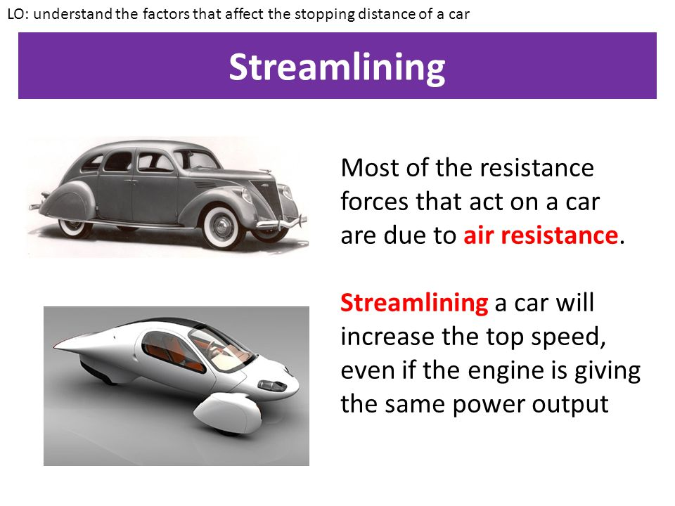 LO: understand the factors that affect the stopping distance of a car