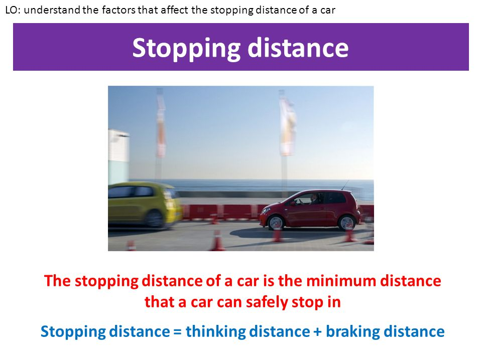 Stopping distance = thinking distance + braking distance