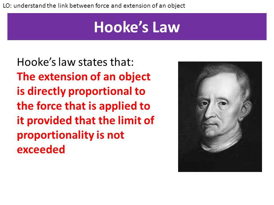 Hooke's Law Hooke's law states that: