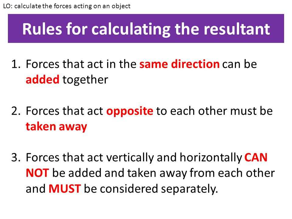 Rules for calculating the resultant