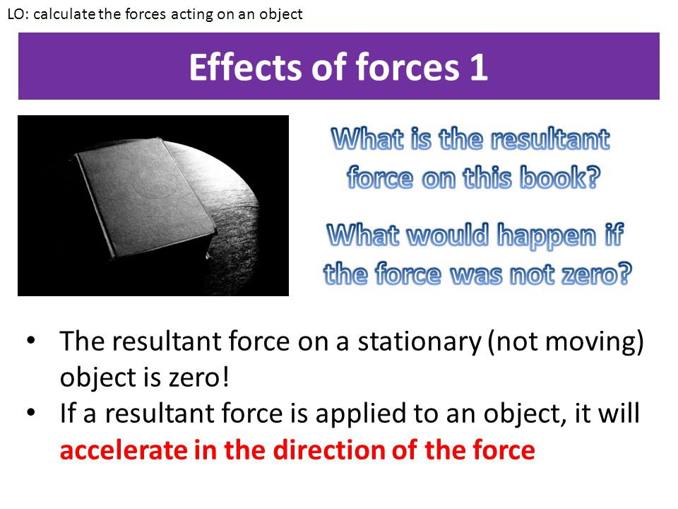 Effects of forces 1 What is the resultant force on this book