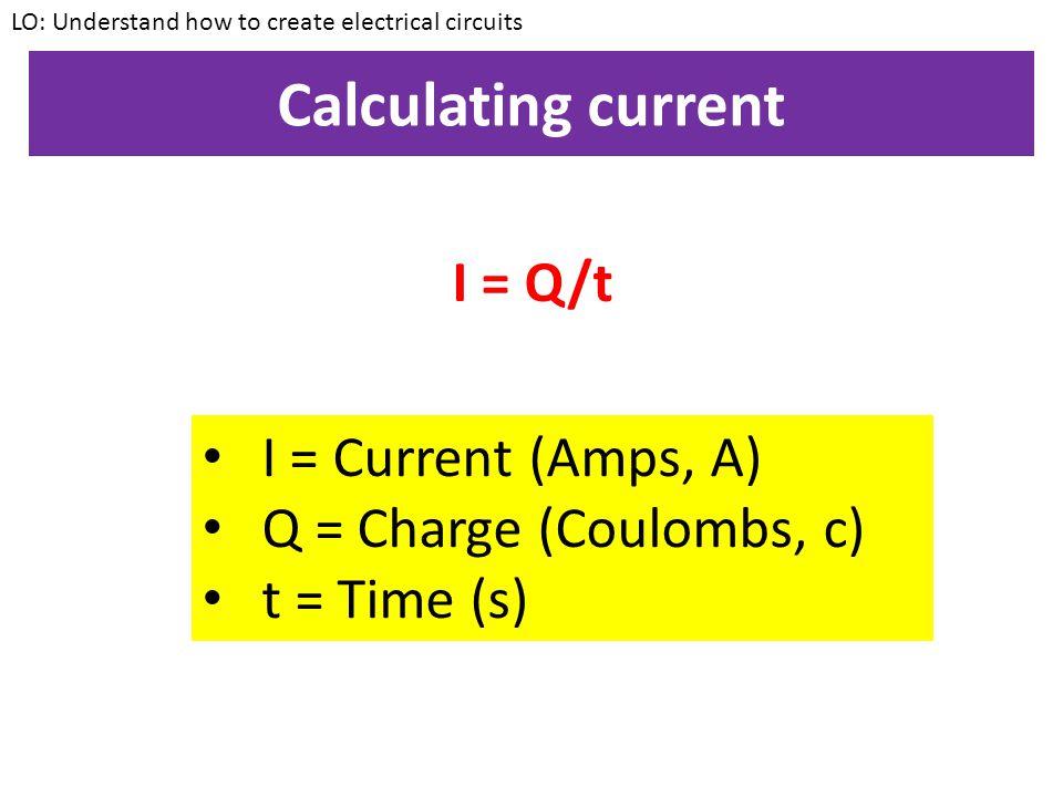 Calculating current I = Q/t I = Current (Amps, A)