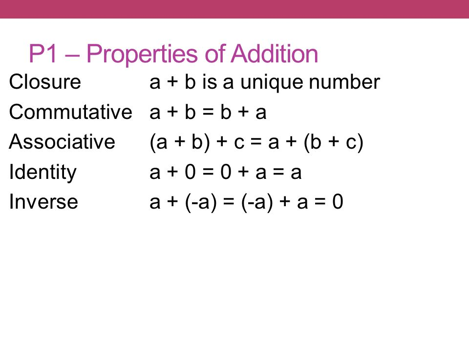 P1 – Properties of Addition