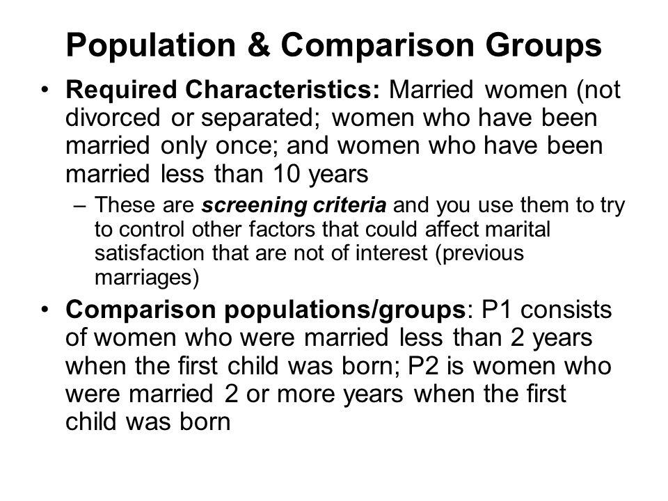 Population & Comparison Groups