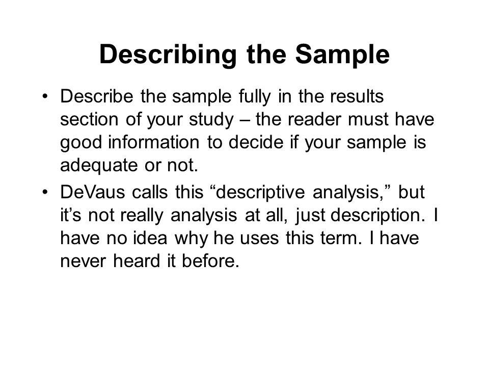 Describing the Sample