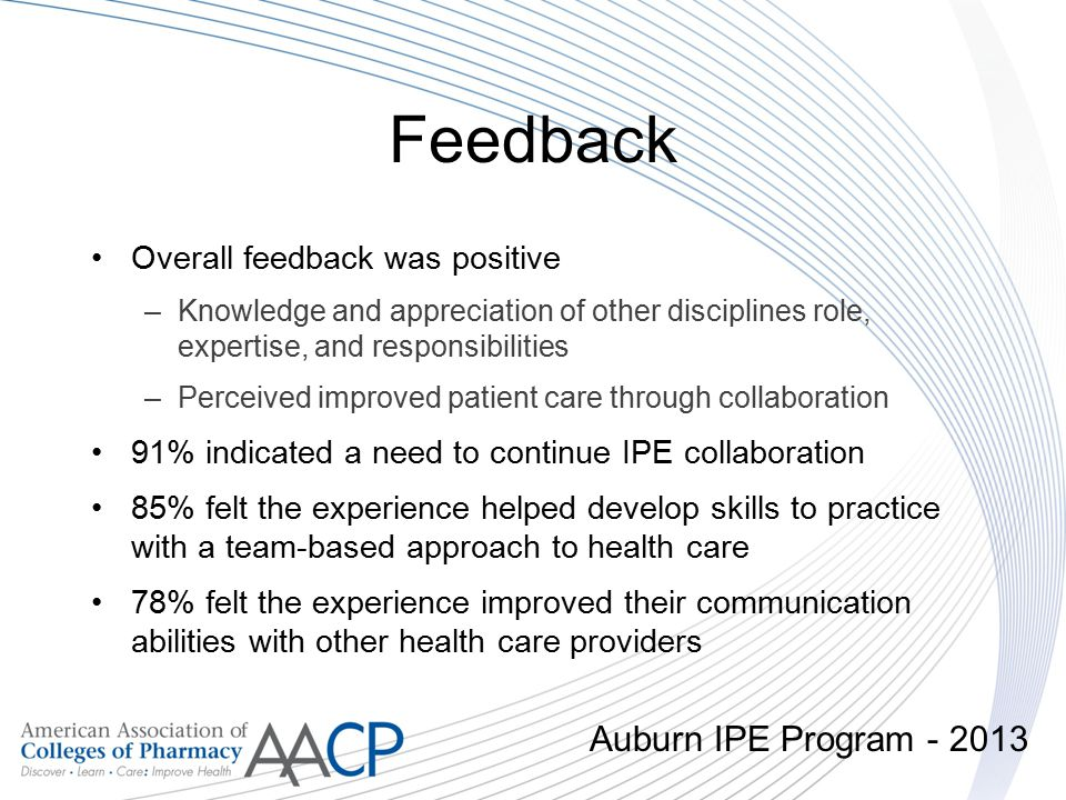 Feedback Auburn IPE Program - 2013 Overall feedback was positive