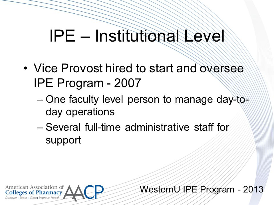 IPE – Institutional Level