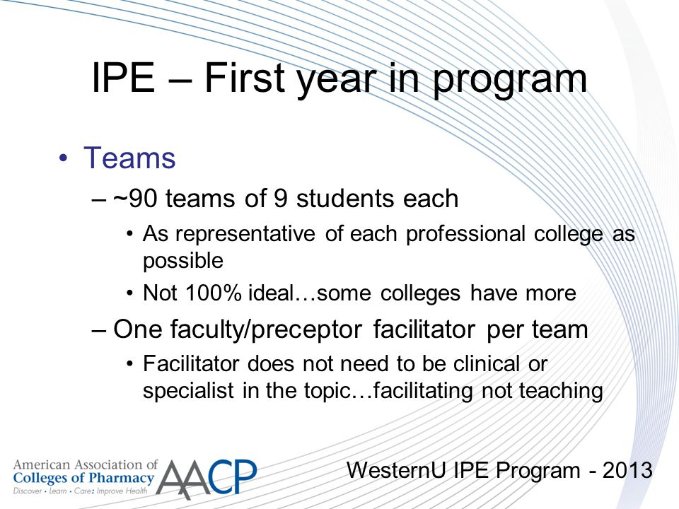 IPE – First year in program