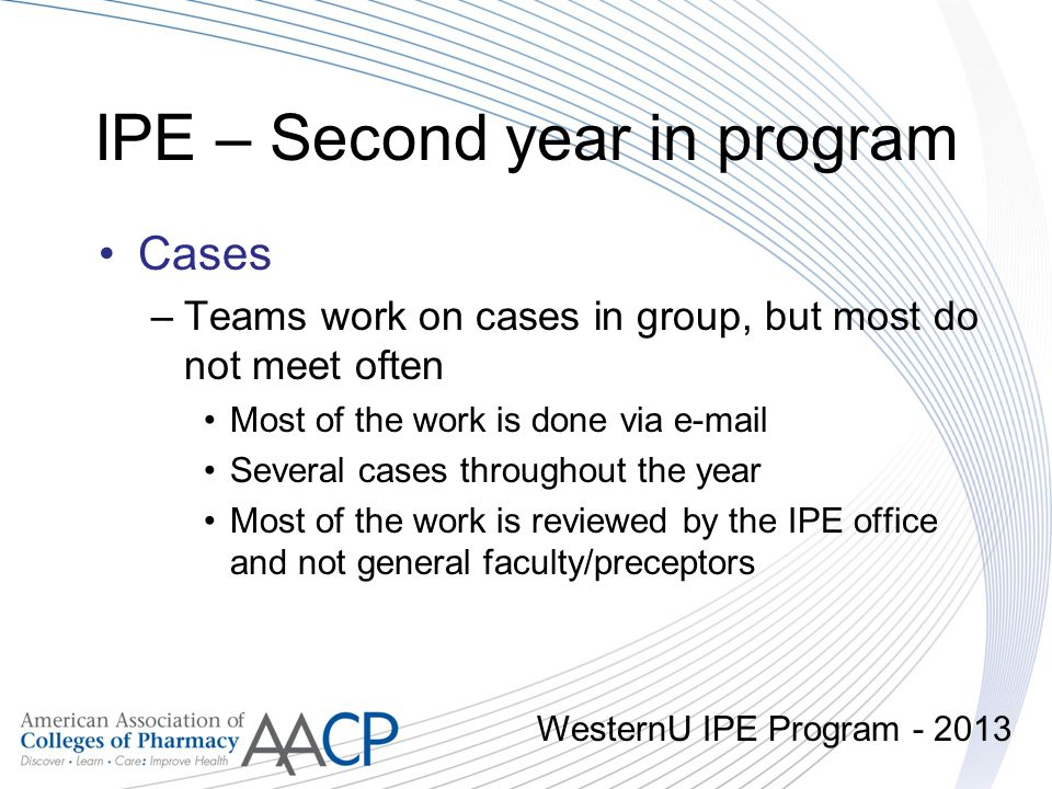 IPE – Second year in program