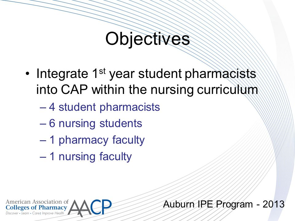 Objectives Integrate 1st year student pharmacists into CAP within the nursing curriculum. 4 student pharmacists.