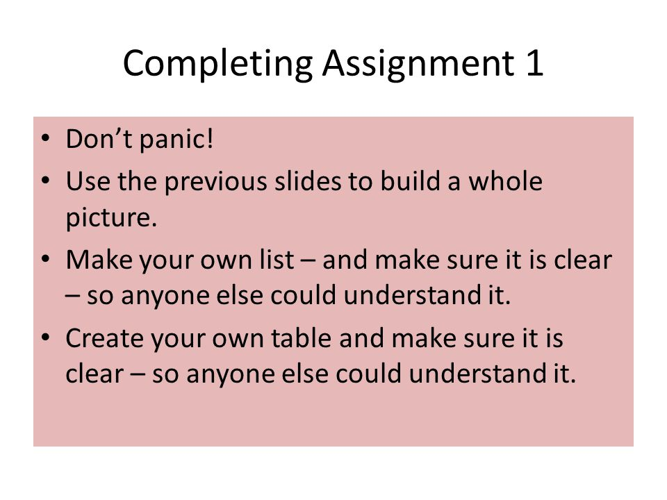 Completing Assignment 1