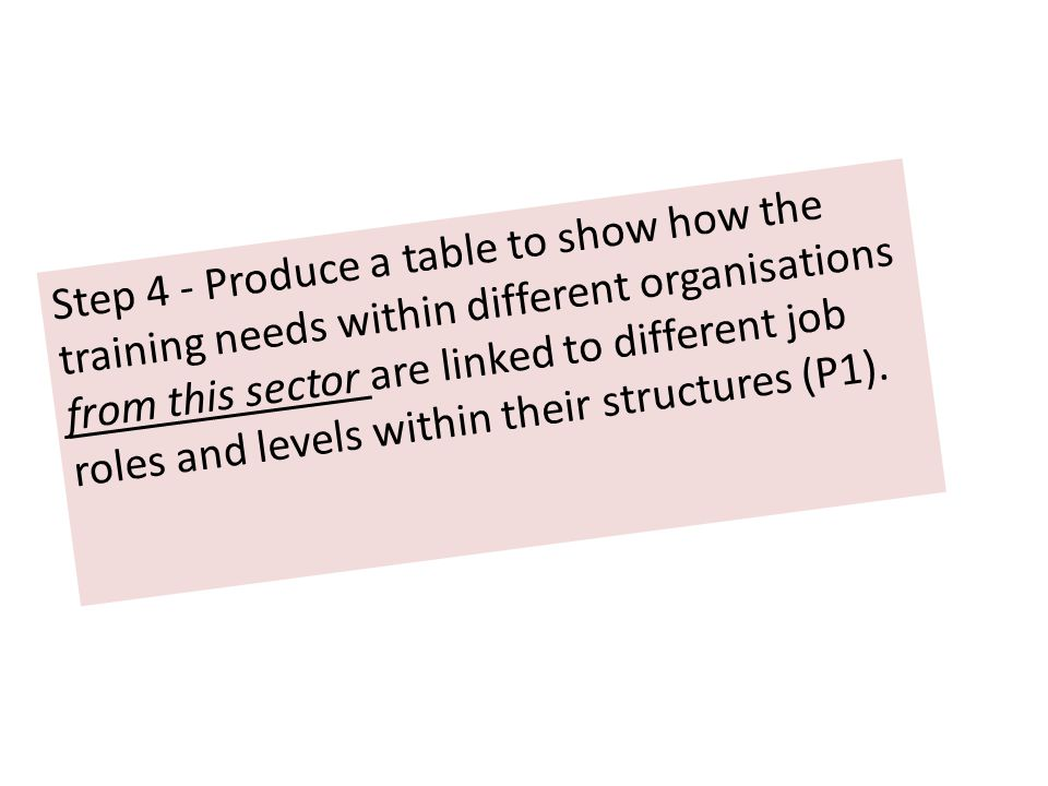 Step 4 - Produce a table to show how the training needs within different organisations from this sector are linked to different job roles and levels within their structures (P1).