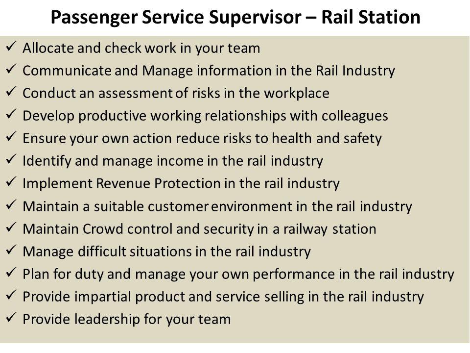 Passenger Service Supervisor – Rail Station