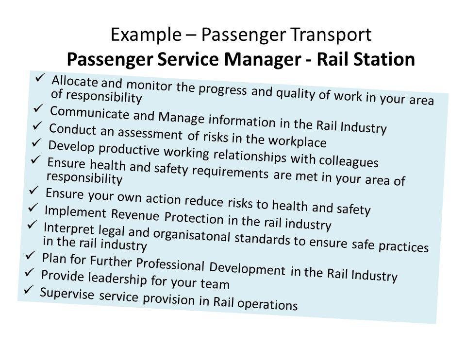Example – Passenger Transport Passenger Service Manager - Rail Station