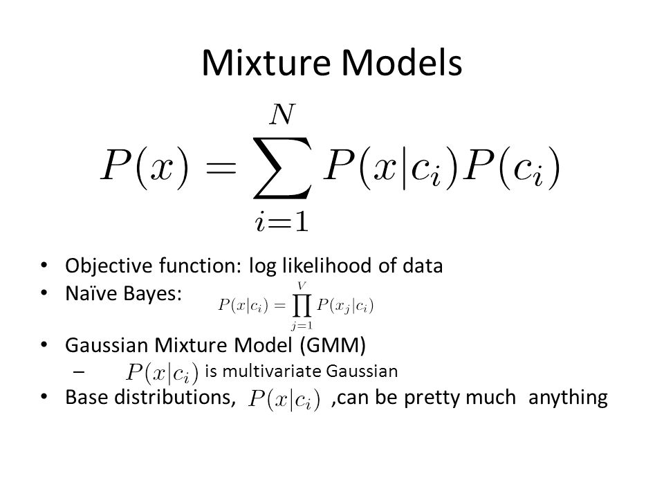 Mixture Models Objective function: log likelihood of data Naïve Bayes: