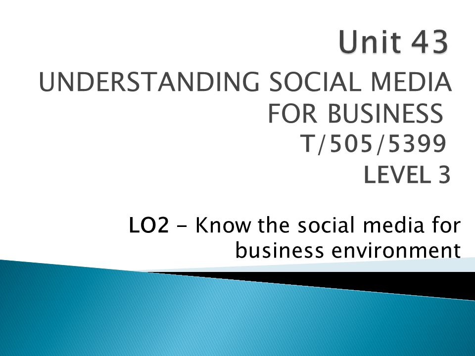 UNDERSTANDING SOCIAL MEDIA FOR BUSINESS T/505/5399 LEVEL 3