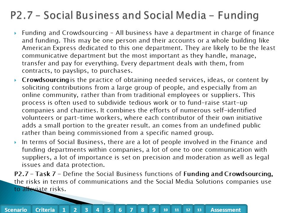 P2.7 – Social Business and Social Media - Funding