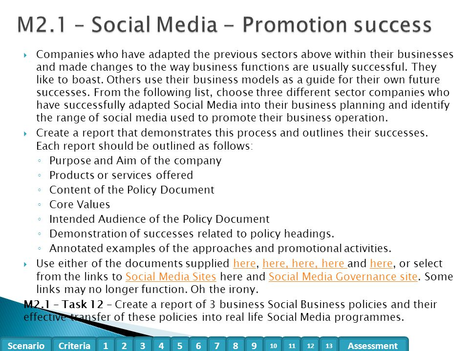 M2.1 – Social Media - Promotion success