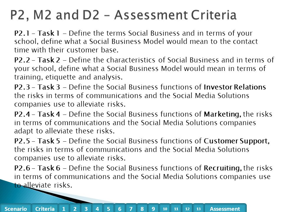 P2, M2 and D2 – Assessment Criteria