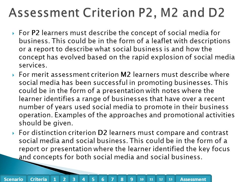 Assessment Criterion P2, M2 and D2