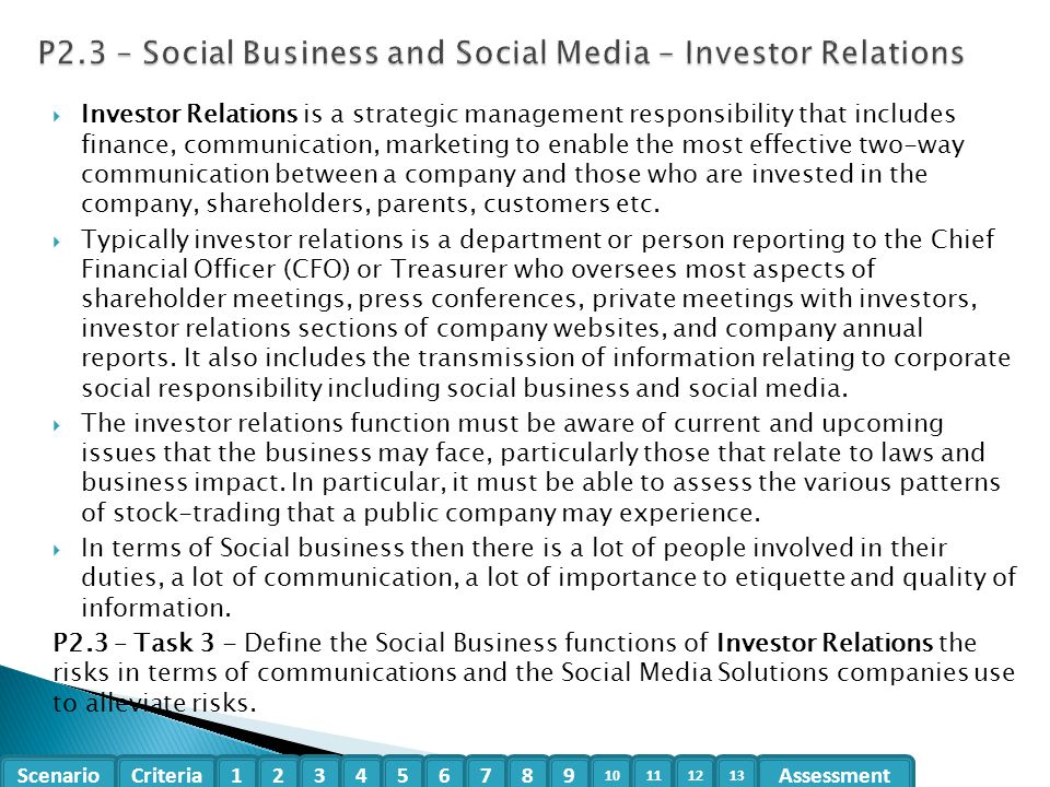 P2.3 – Social Business and Social Media – Investor Relations