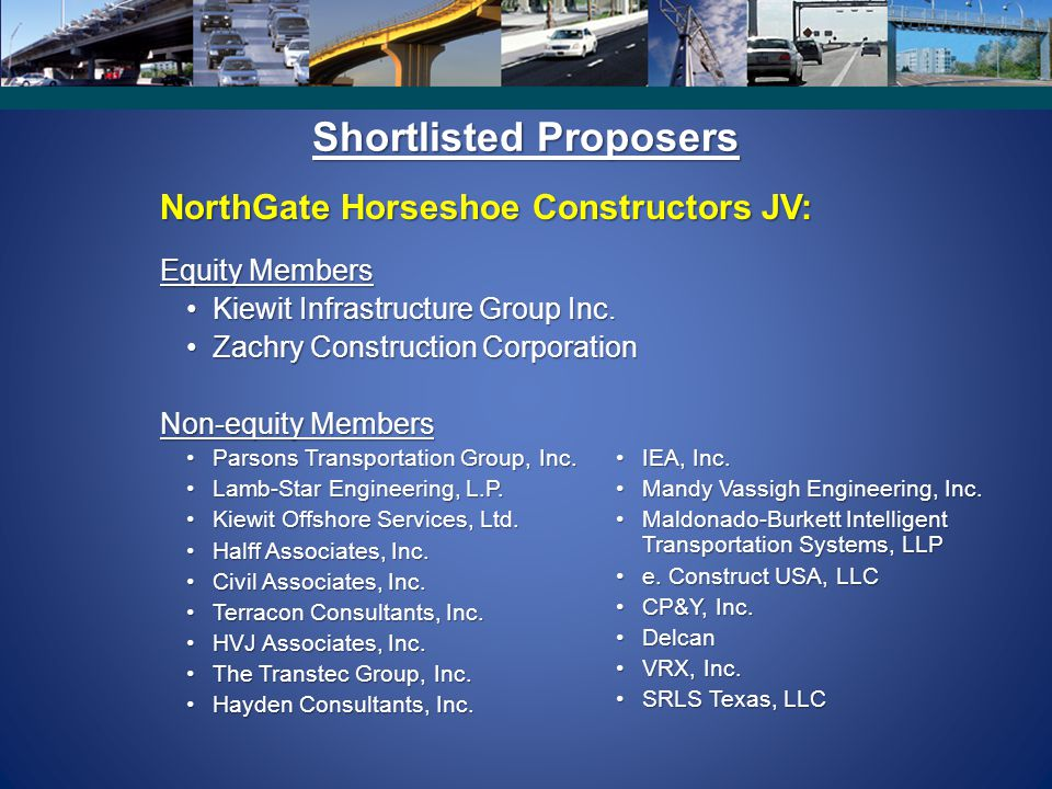 Shortlisted Proposers