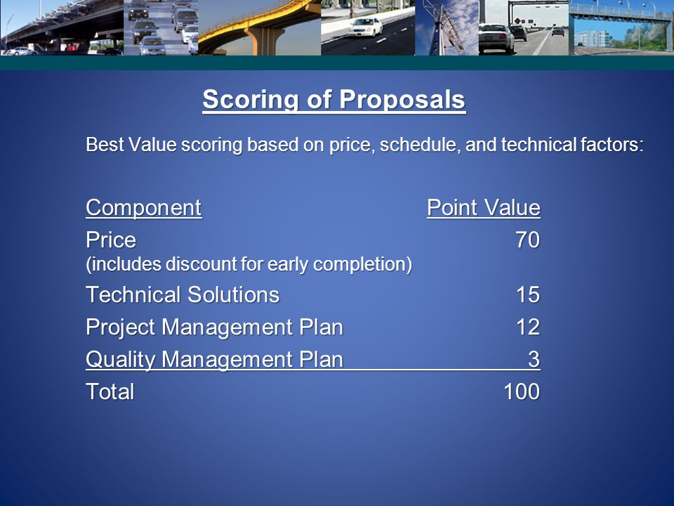 Scoring of Proposals Component Point Value Price 70