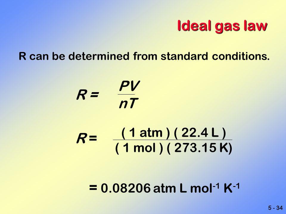 Ideal gas law PV R = nT R = = 0.08206 atm L mol-1 K-1