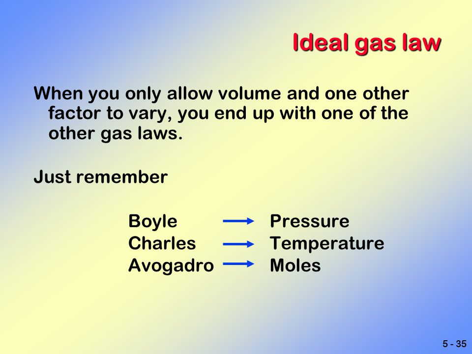 Ideal gas law When you only allow volume and one other factor to vary, you end up with one of the other gas laws.
