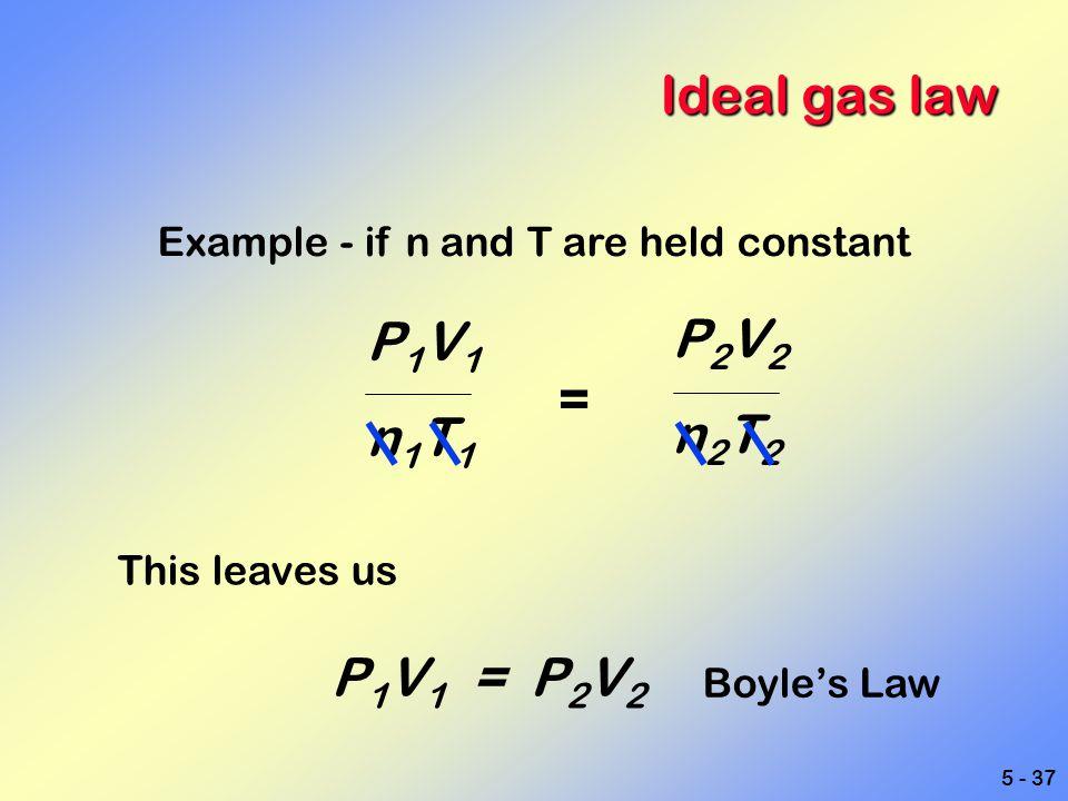 Ideal gas law P1V1 P2V2 n1T1 n2T2 = P1V1 = P2V2