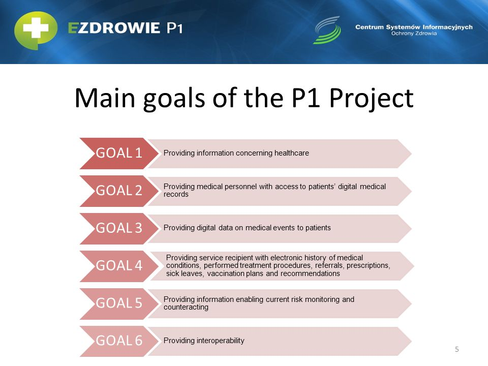 Main goals of the P1 Project