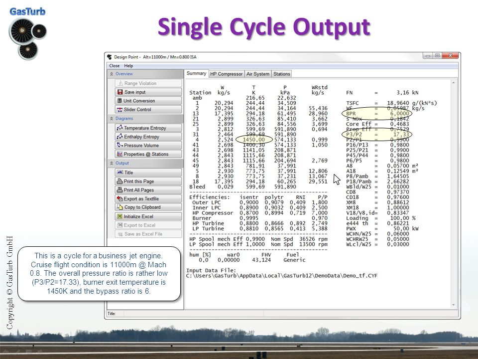 Single Cycle Output Copyright © GasTurb GmbH