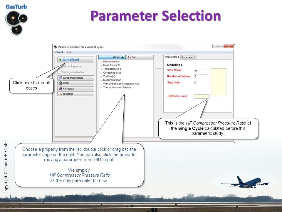 Parameter Selection Copyright © GasTurb GmbH