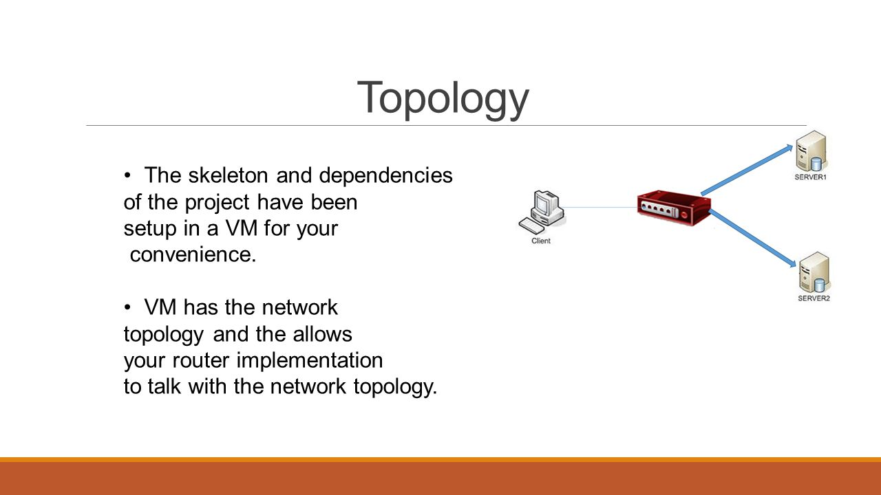 Topology The skeleton and dependencies of the project have been