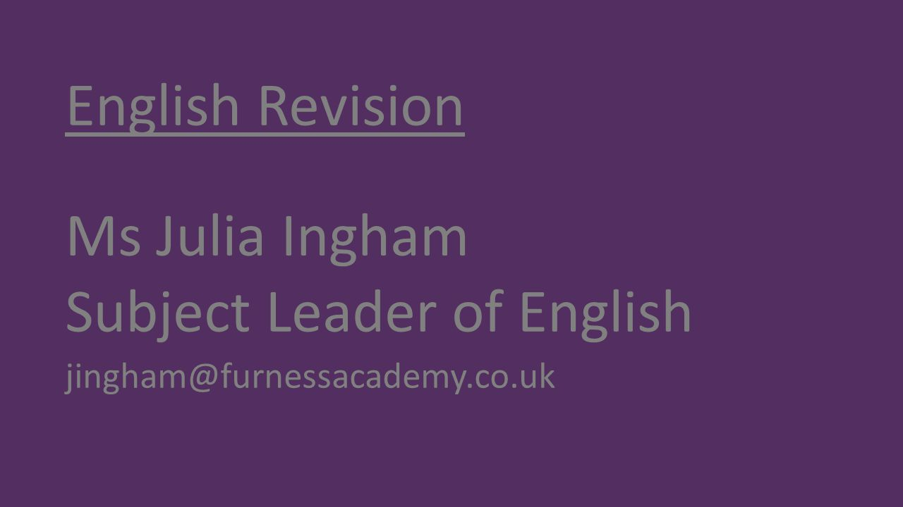 Subject Leader of English