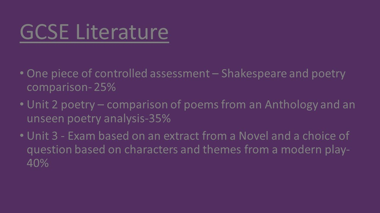 GCSE Literature One piece of controlled assessment – Shakespeare and poetry comparison- 25%