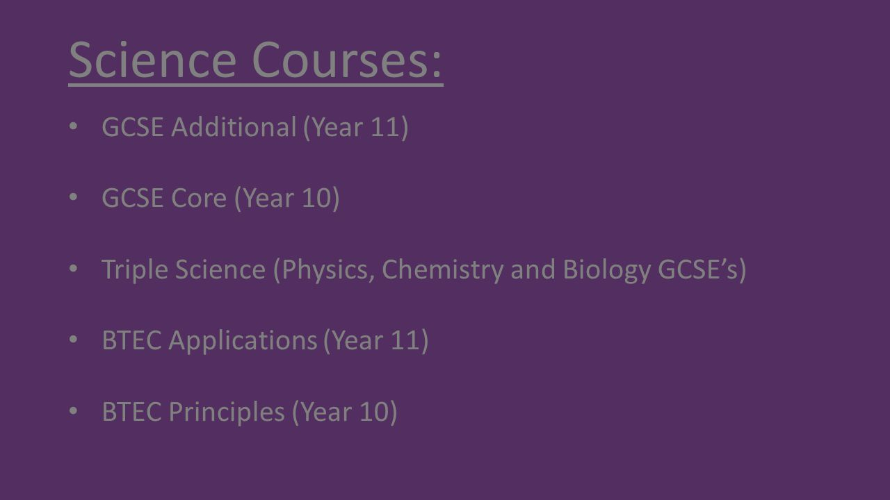 Science Courses: GCSE Additional (Year 11) GCSE Core (Year 10)