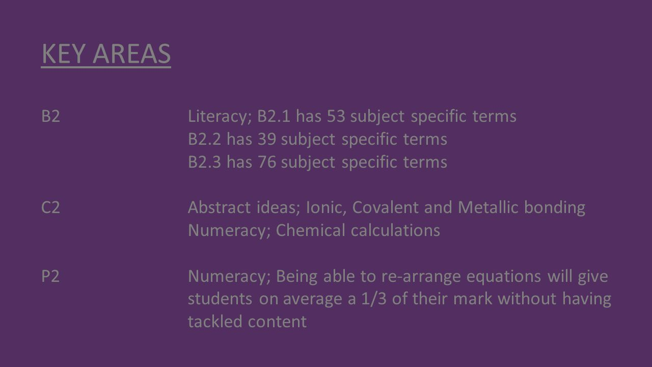 KEY AREAS B2 Literacy; B2.1 has 53 subject specific terms
