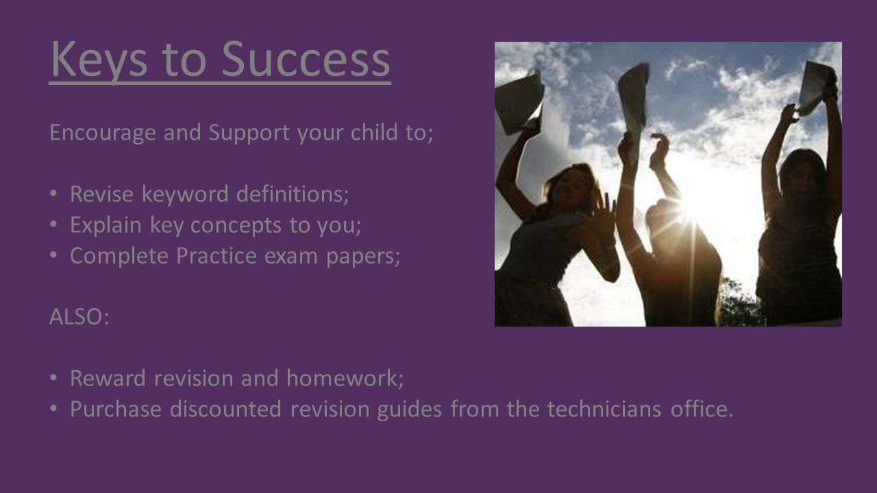 Keys to Success Encourage and Support your child to;