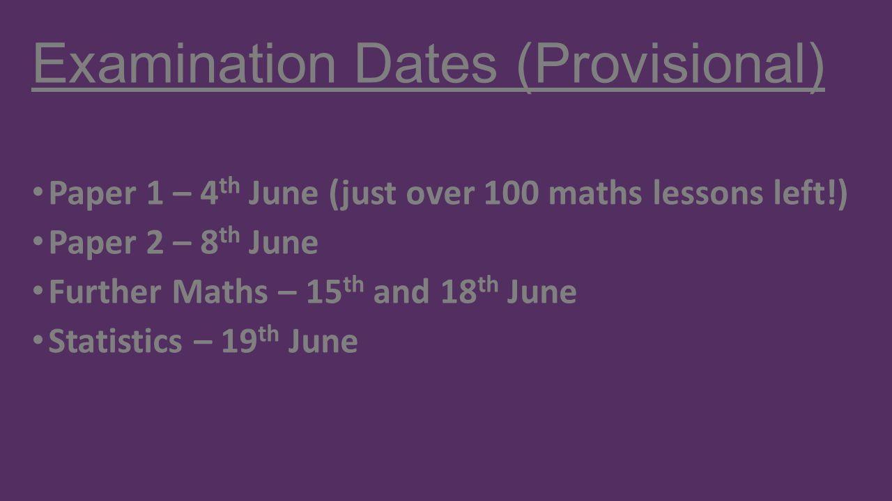 Examination Dates (Provisional)