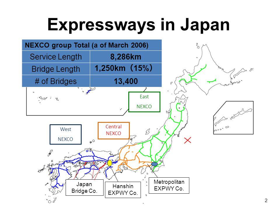 Expressways in Japan Service Length 8,286km Bridge Length 1,250km(15%)