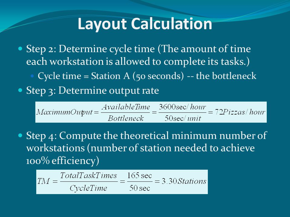 Layout Calculation Step 2: Determine cycle time (The amount of time each workstation is allowed to complete its tasks.)